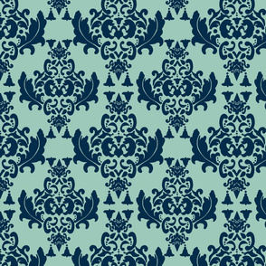 Delicious Damask-  Navy Blue on Spoonflower Green