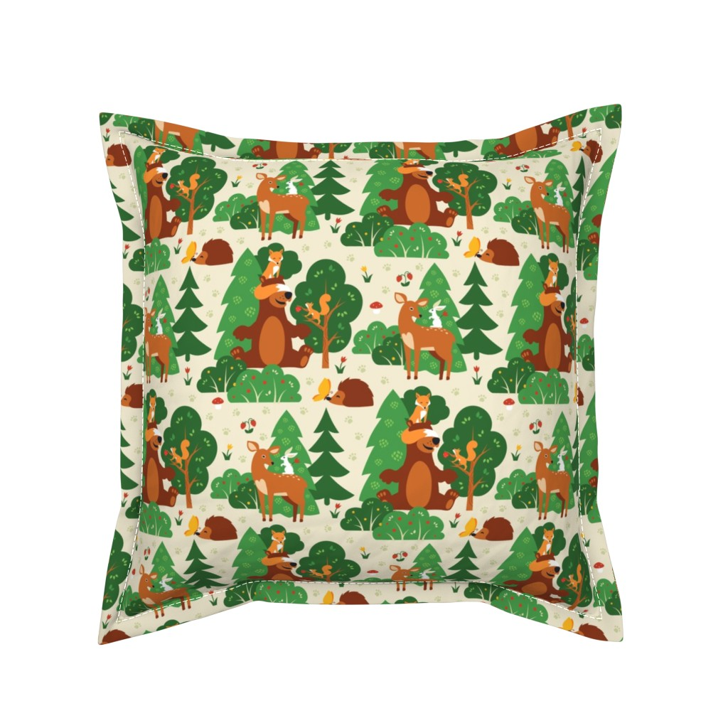 Serama Throw Pillow featuring Forest friends by brazhnikova_ekaterina
