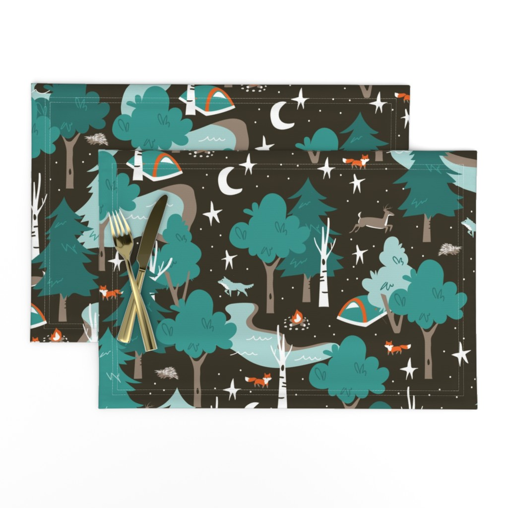 Lamona Cloth Placemats featuring Among the Trees, Beneath the Stars by papercanoefabricshop