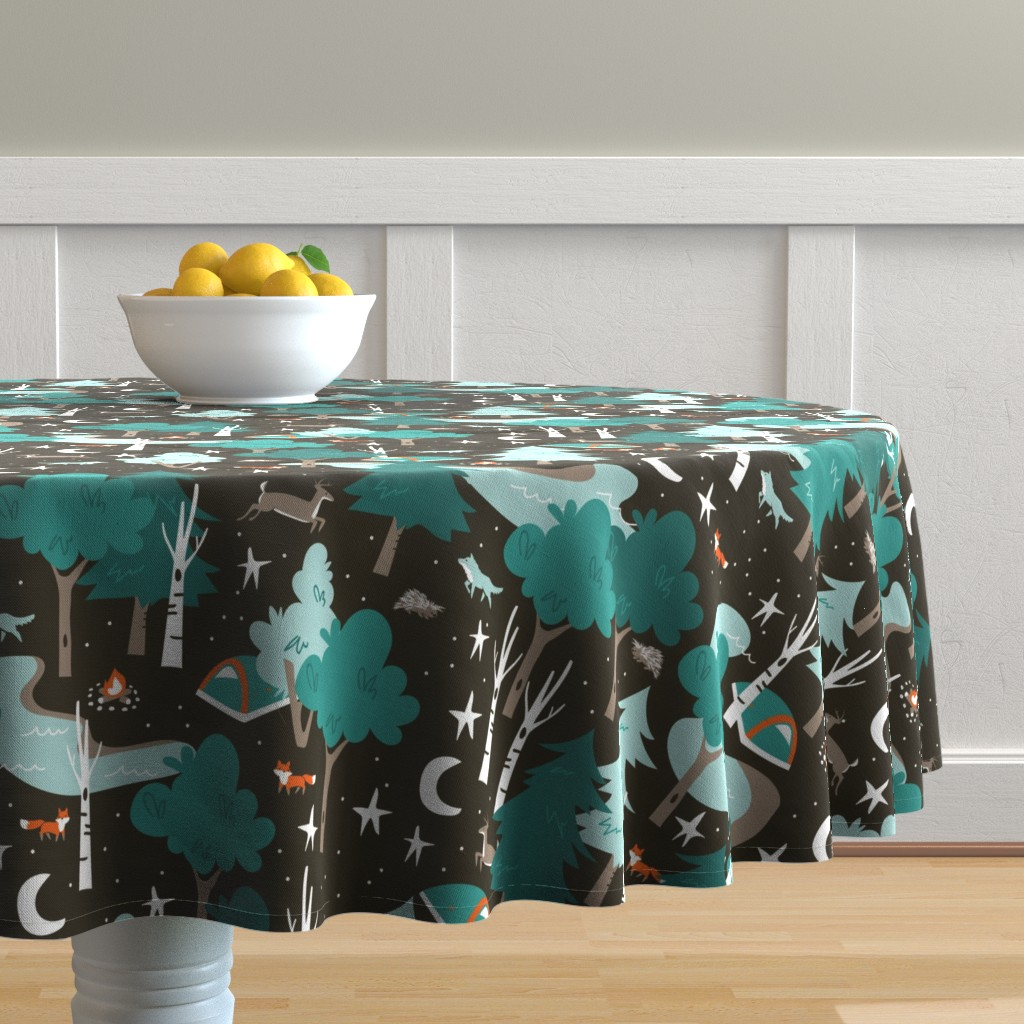 Malay Round Tablecloth featuring Among the Trees, Beneath the Stars by papercanoefabricshop