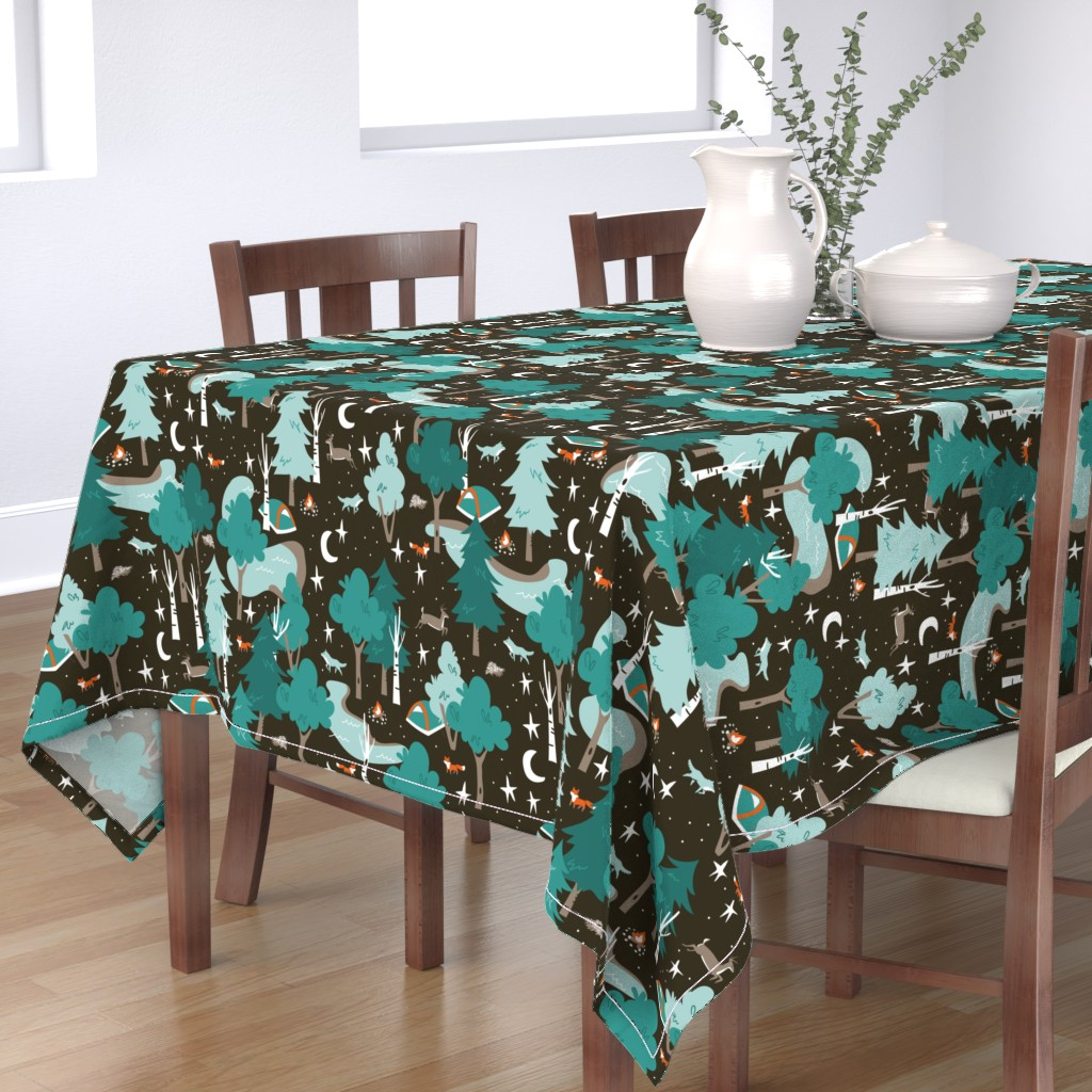 Bantam Rectangular Tablecloth featuring Among the Trees, Beneath the Stars by papercanoefabricshop