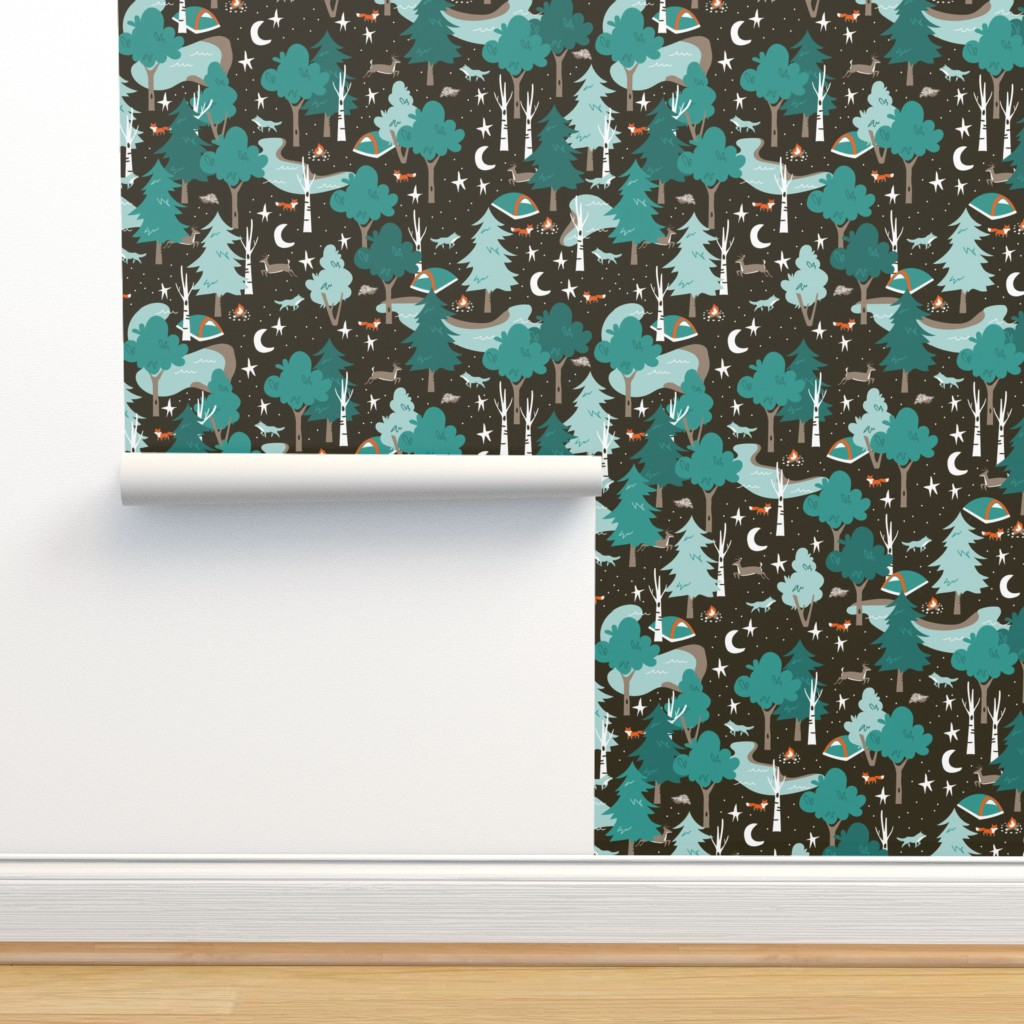 Isobar Durable Wallpaper featuring Among the Trees, Beneath the Stars by papercanoefabricshop