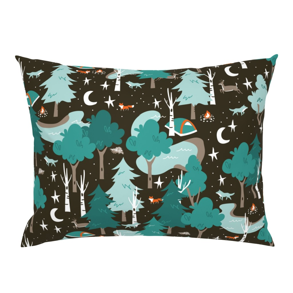 Campine Pillow Sham featuring Among the Trees, Beneath the Stars by papercanoefabricshop