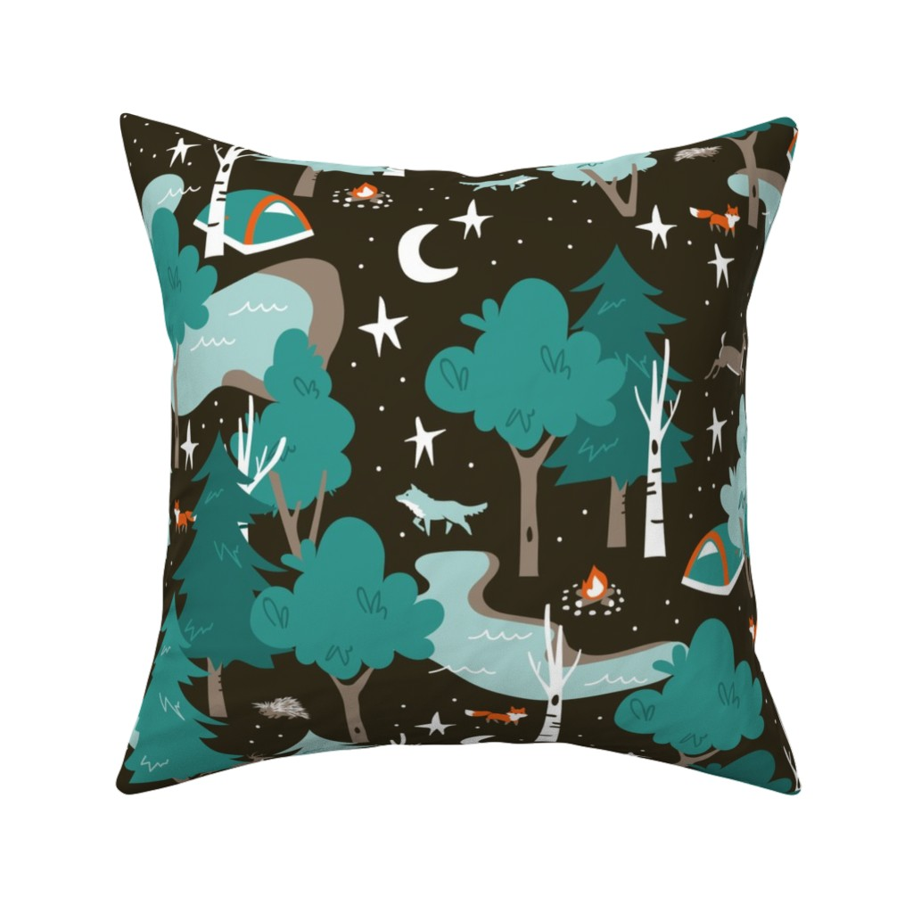 Catalan Throw Pillow featuring Among the Trees, Beneath the Stars by papercanoefabricshop