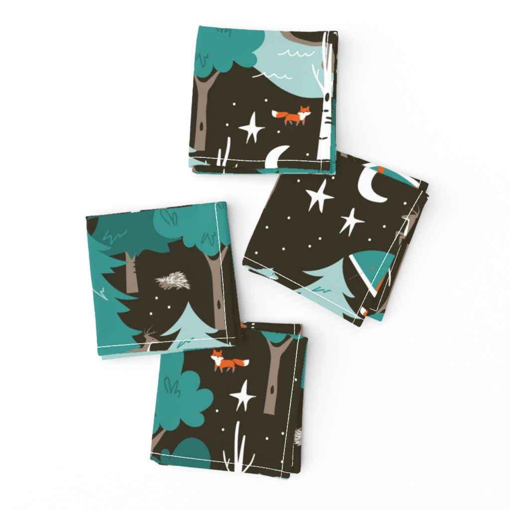 Frizzle Cocktail Napkins featuring Among the Trees, Beneath the Stars by papercanoefabricshop
