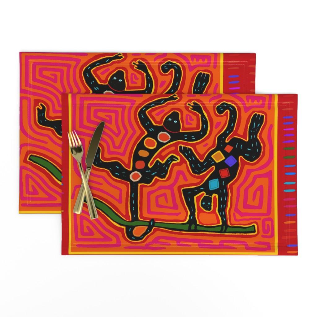 Lamona Cloth Placemats featuring Mola - Jungle Monkey Business by vagabond_folk_art