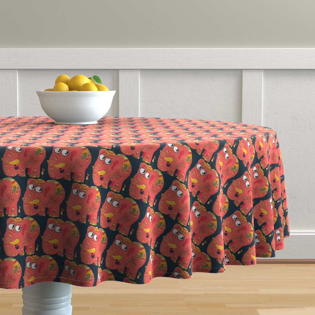 Malay Round Tablecloth featuring colorful Indian elephant and mouse, small scale, teal green yellow orange pink by amy_g