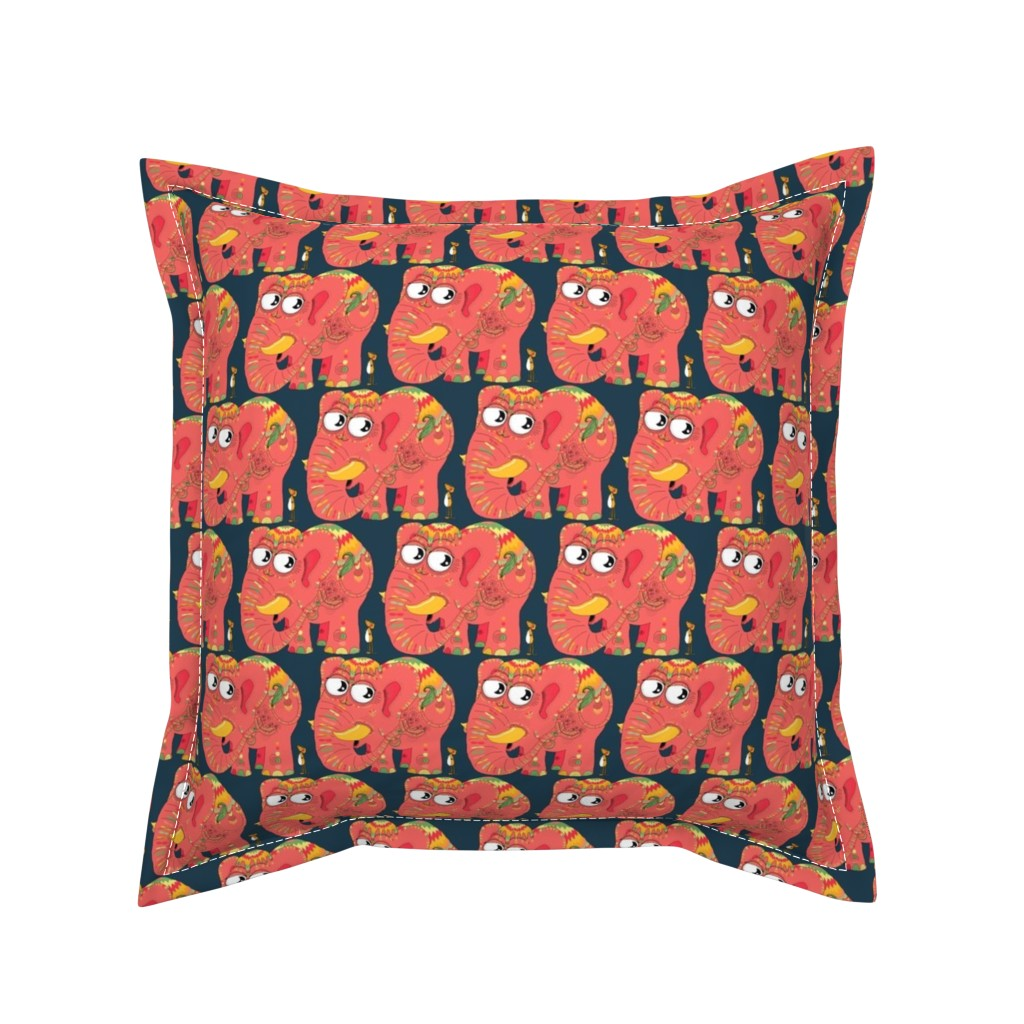 Serama Throw Pillow featuring colorful Indian elephant and mouse, small scale, teal green yellow orange pink by amy_g