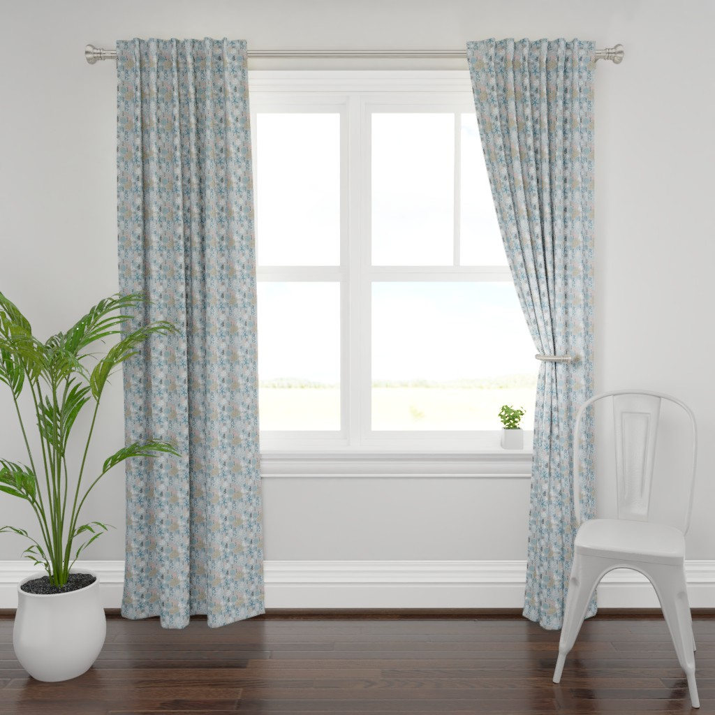 Plymouth Curtain Panel featuring pattern with ocean animals by sandystorm