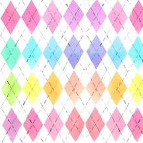 watercolor rainbow argyle