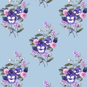 Pansy Washed Purples Periwinkle Grey