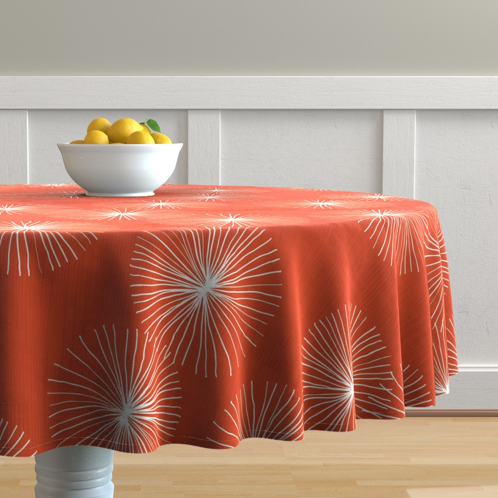 Malay Round Tablecloth featuring Dandelions M+M Ruby by Friztin by friztin