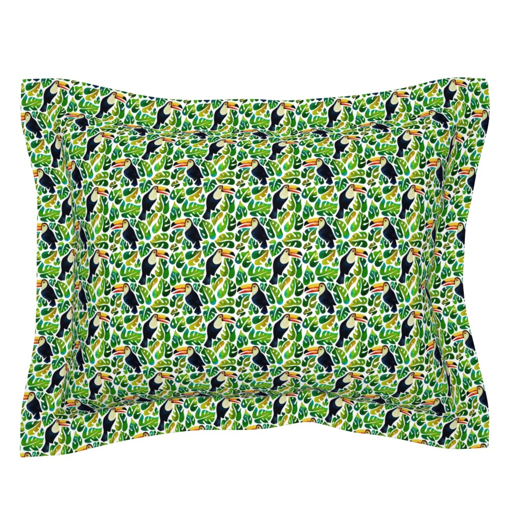 Sebright Pillow Sham featuring watercolor toucans with monstera leaves - small by mirabelleprint