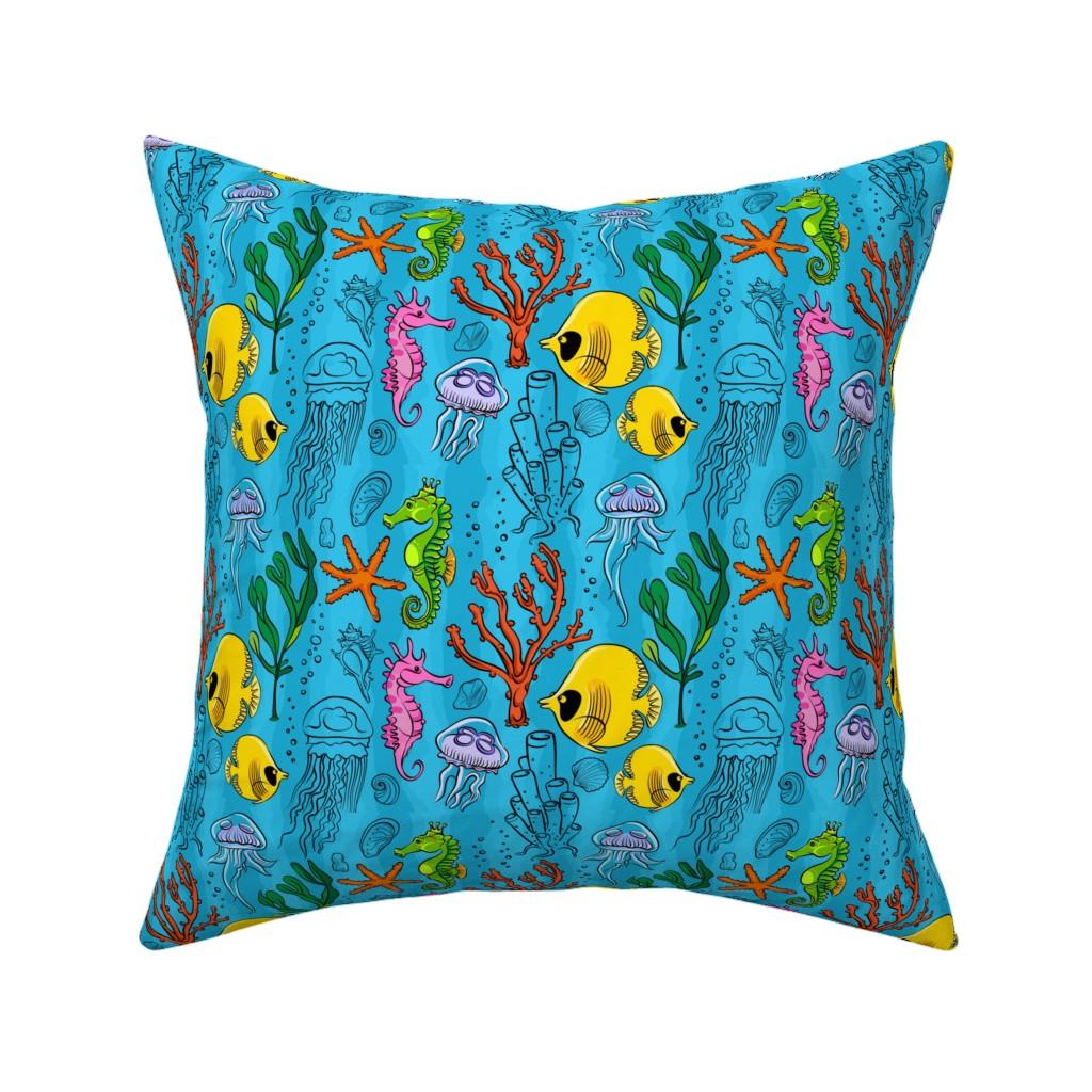 Catalan Throw Pillow featuring seaLifePattern1 by blackfeathergrass