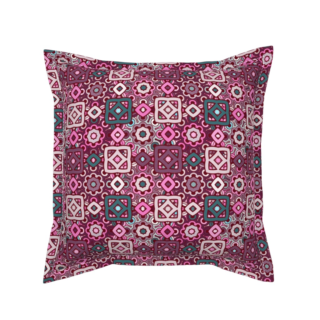 Serama Throw Pillow featuring boho ethnic pattern in pink and turquoise colors by nadia_to_art