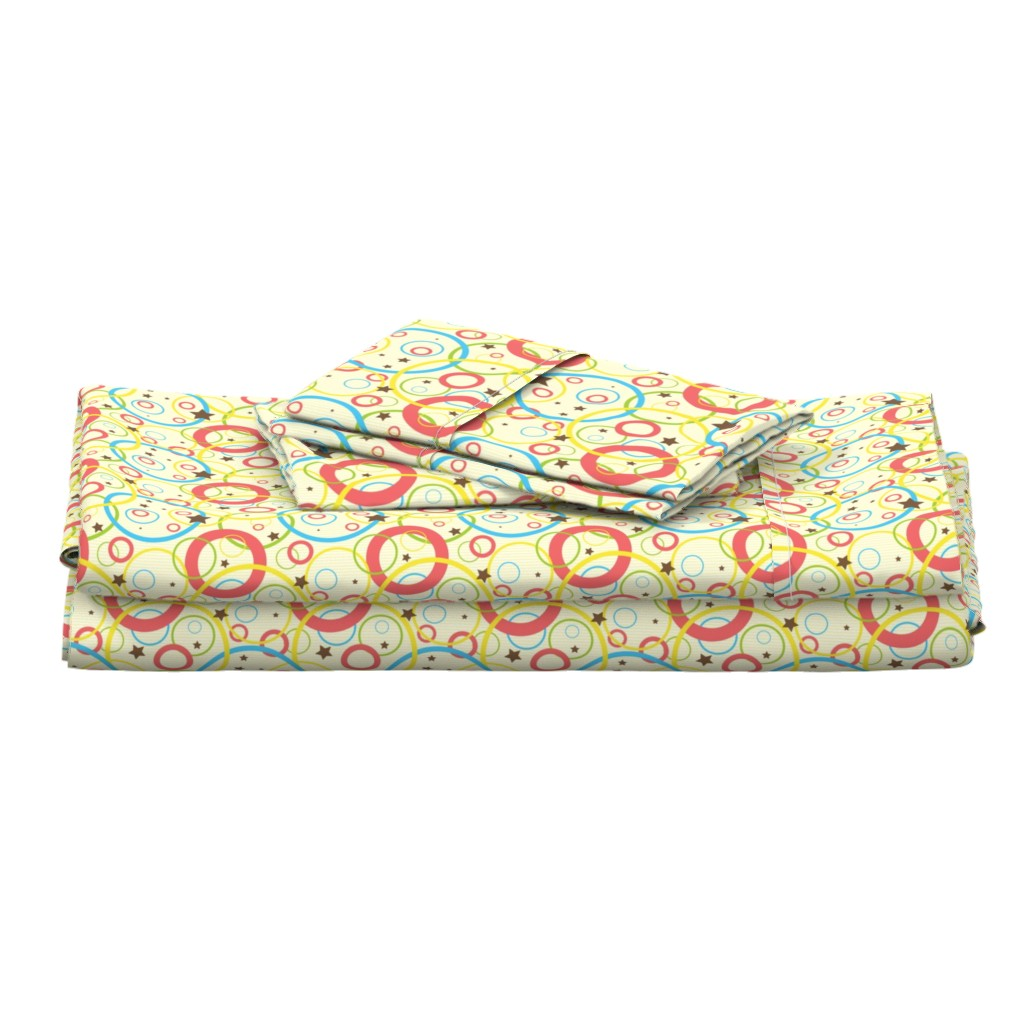 Langshan Full Bed Set featuring Fun stars and bubbles - light and bright geometric shapes by nadia_to_art