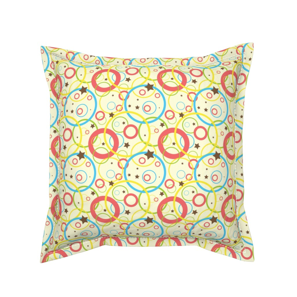 Serama Throw Pillow featuring Fun stars and bubbles - light and bright geometric shapes by nadia_to_art