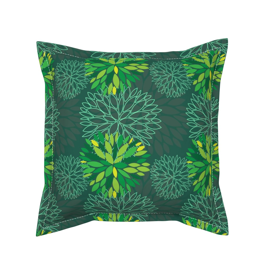 Serama Throw Pillow featuring Green Spring Flowers Pattern - Abstract Peonies On Teal Blue Background by nadia_to_art