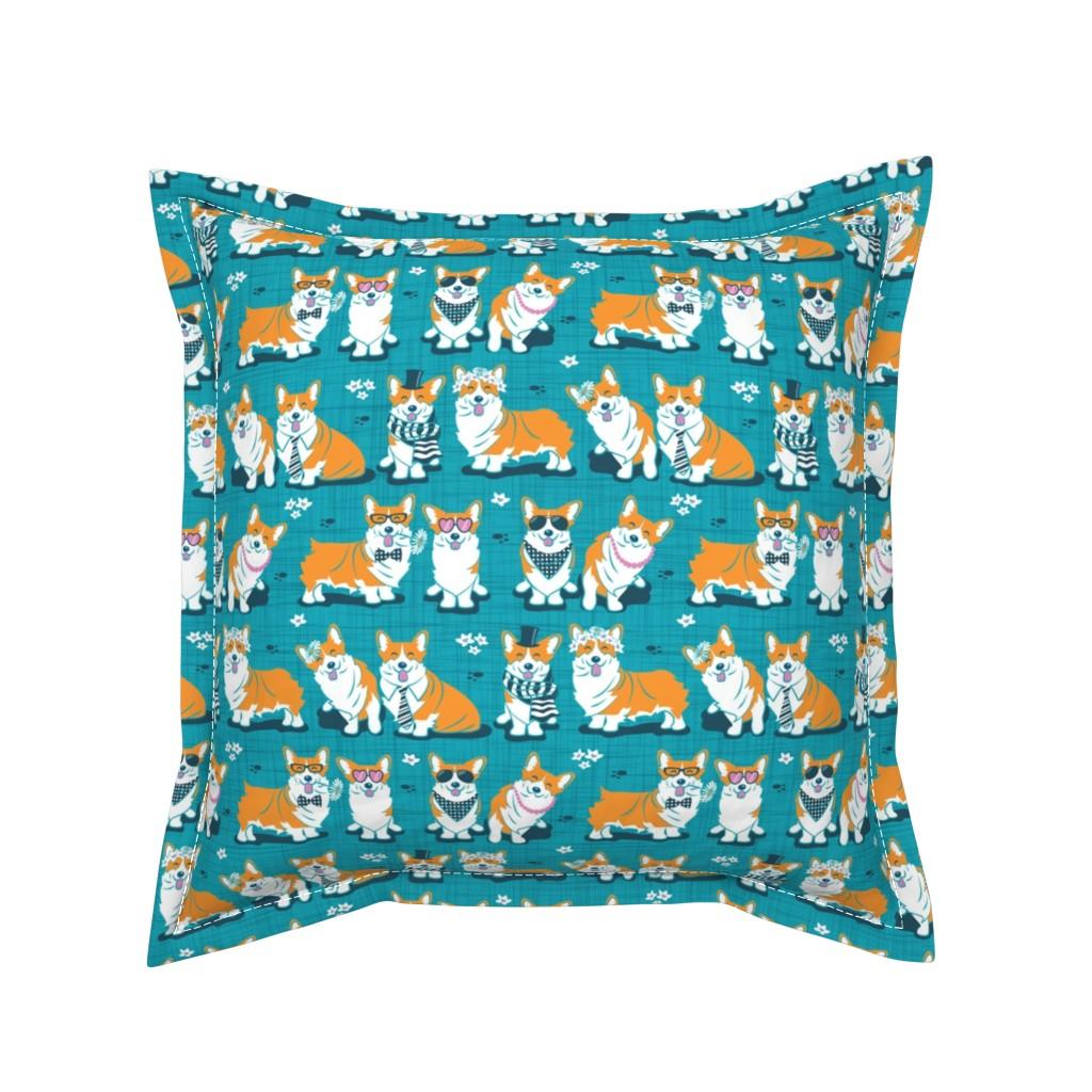 Serama Throw Pillow featuring Charming corgis // teal background by selmacardoso
