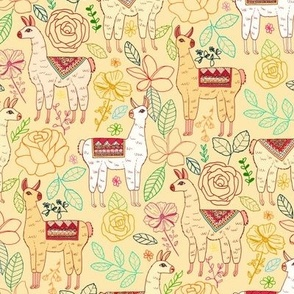 Mexican Llamas With Plants On farrow Cream