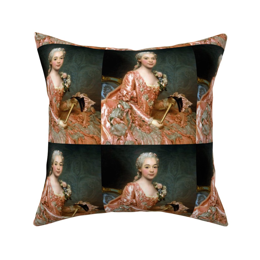 Catalan Throw Pillow featuring Marie Antoinette inspired princesses peach pink orange gowns flowers floral roses lace baroque victorian masks masquerade damask wallpaper ballgowns rococo portraits beautiful lady woman beauty elegant gothic lolita egl 18th century neoclassical  historic by raveneve
