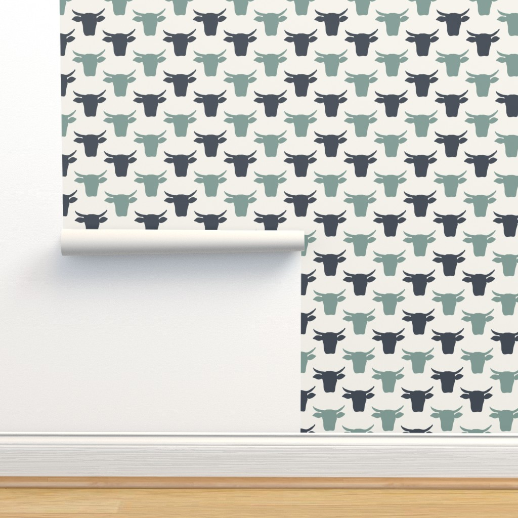 Isobar Durable Wallpaper featuring Cow Heads - Denim, Blue, H White- by fernlesliestudio