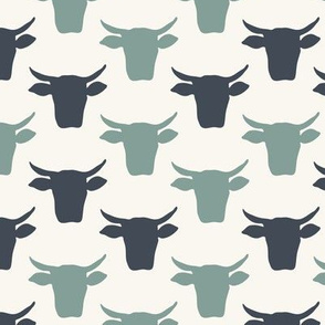 Cow Heads - Denim, Blue, H White-