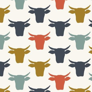 Cow Heads -  Denim, Red, Blue, H White
