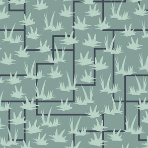 Grass Grid - Mint, Blue