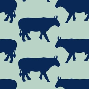 Cow Side Silhouette - Mint, Navy