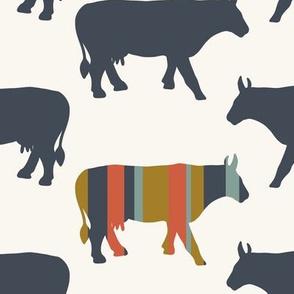 Cow Side - Multi, Denim, H White