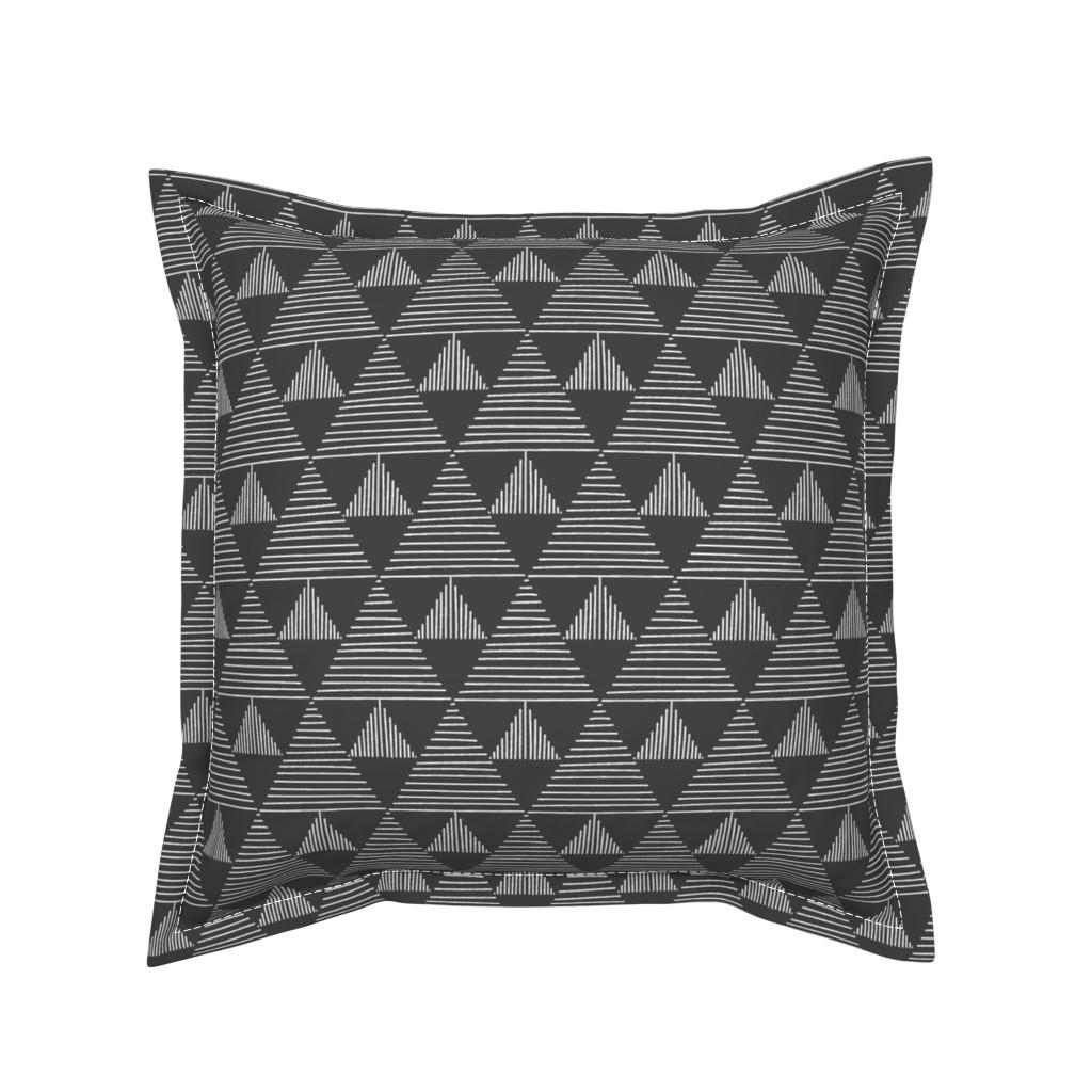 Serama Throw Pillow featuring Stripy triangles - white on black by vivdesign
