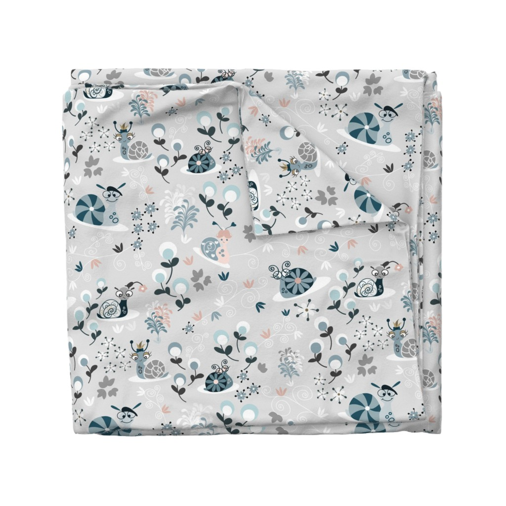 Wyandotte Duvet Cover featuring Silly Snails by paula_ohreen_designs