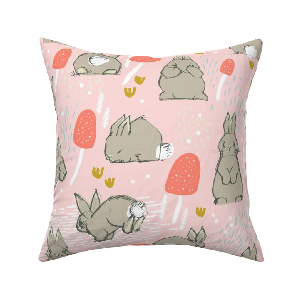Catalan Throw Pillow featuring Cottontail Rabbit Kits M+M Icing by Friztin by friztin