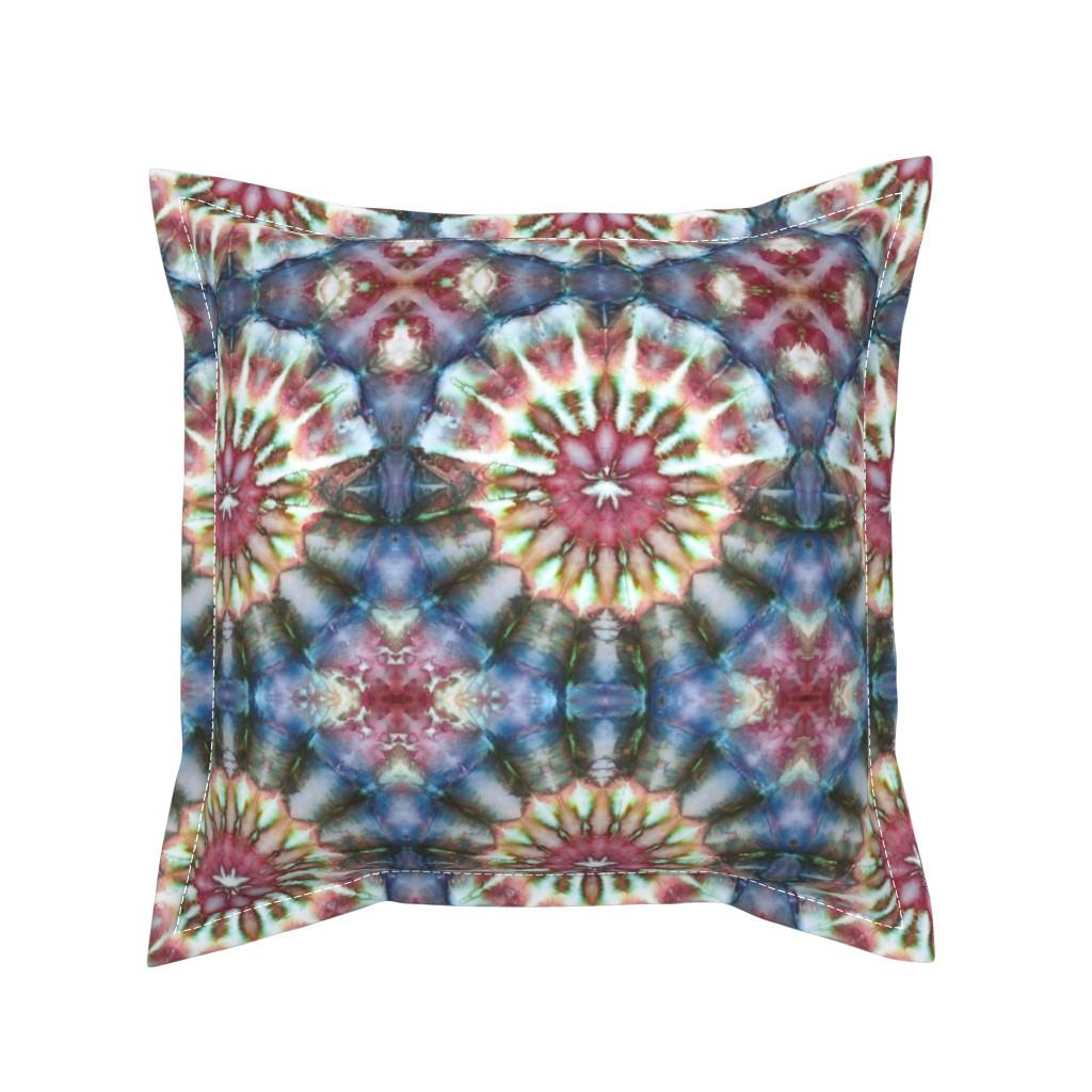 Serama Throw Pillow featuring Kaleidoscope Burst Blue & Green by nancygamon