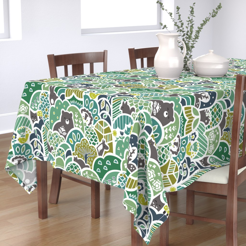 Bantam Rectangular Tablecloth featuring Woodland Wonder by studio_amelie