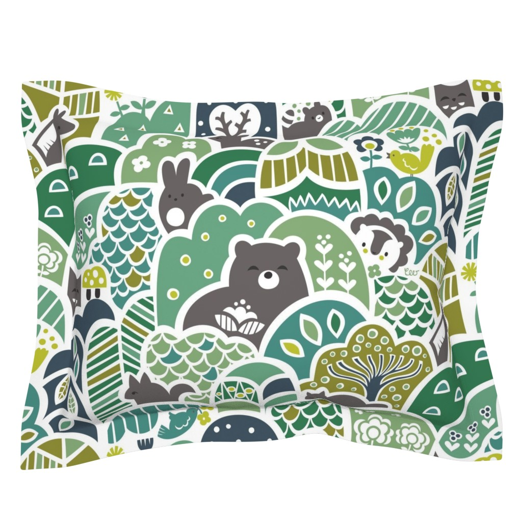 Sebright Pillow Sham featuring Woodland Wonder by studio_amelie
