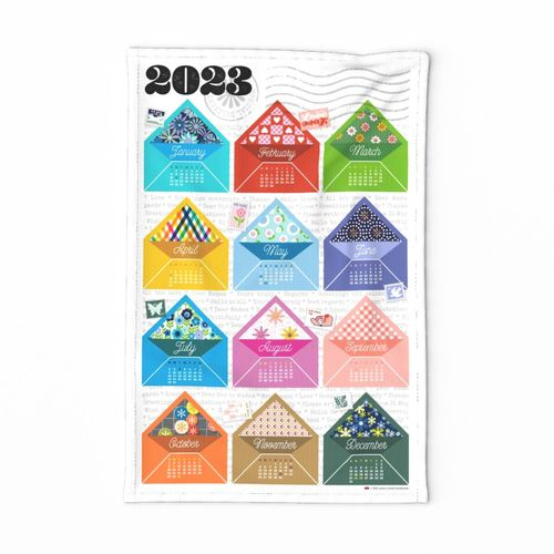 2022 Tea Towel Calendar: Special Delivery* || cut and sew diy kitchen envelopes snail mail post postal floral flower flowers patterns text stamps postage pen pals print poster wall hanging