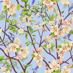 Swallows and Apple Blossoms