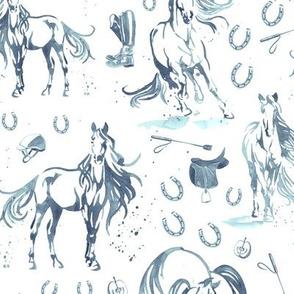 Running With Horses in Denim - Medium