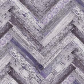 Vintage Wood Chevron Tiles Herringbone Purple