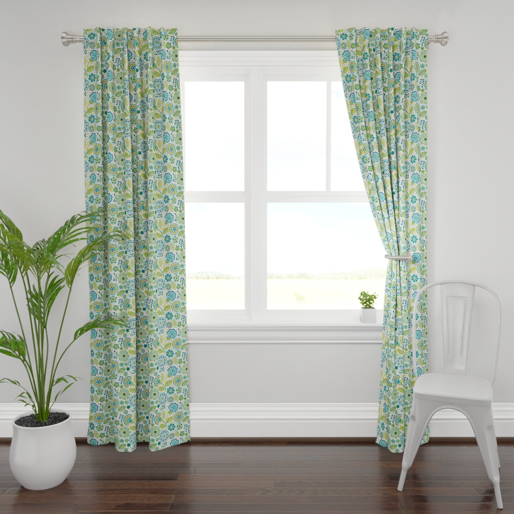 Plymouth Curtain Panel featuring Folk Flower Show Teal by barbarapixton
