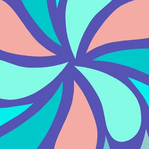 In a Spin 70s XL electric blue teal coral