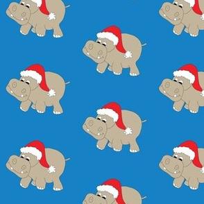 "Santa Hippo Blue Background 3"""
