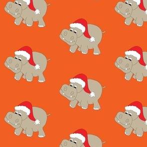 "Santa Hippo Orange Background 3"""