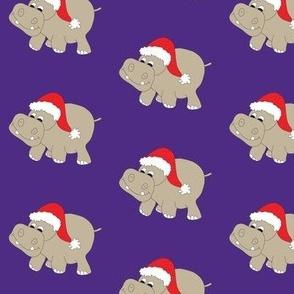 "Santa Hippo Purple Background 3"""
