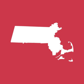 """Massachusetts silhouettes - 21x18"""" white on red"""