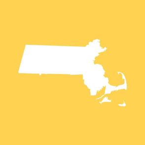 "Massachusetts silhouettes - 21x18"" white on yellow"