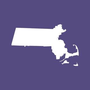 "Massachusetts silhouettes - 21x18"" white on purple"