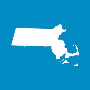 "Massachusetts silhouettes - 21x18"" white on bright blue"